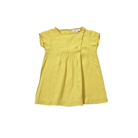 Caramel Lettuce Baby Girl Dress in Mustard Linen | BIEN BIEN
