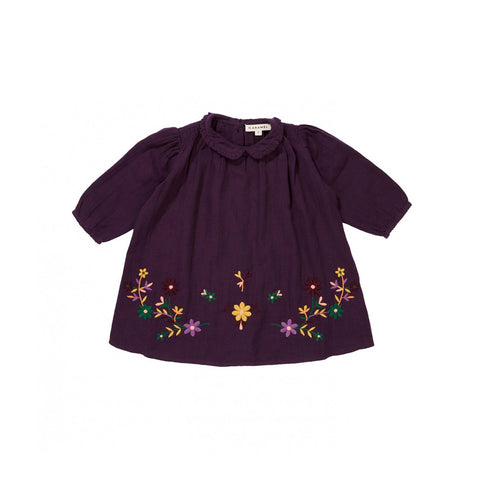 Caramel London Phoebe Baby Embroidered Dress Aubergine | BIEN BIEN www.bienbienshop.com