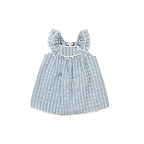 Caramel London Prespa Baby Dress in Pale Blue Check | BIEN BIEN