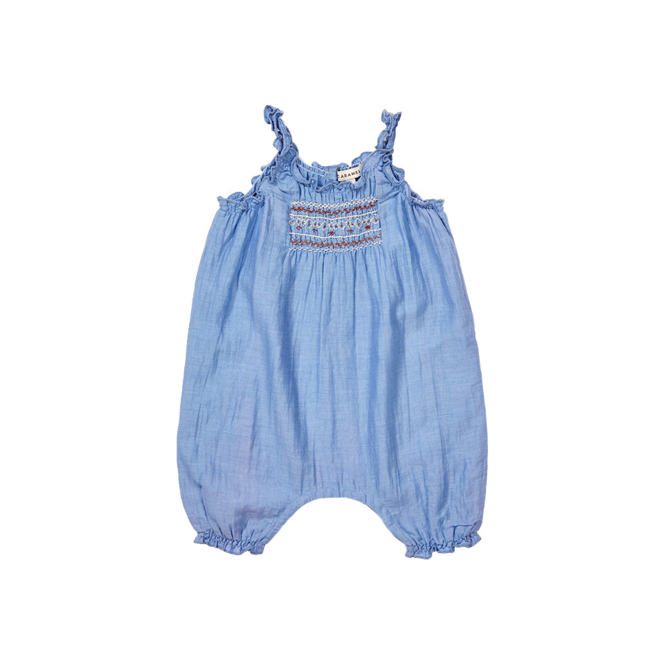 ebe6a7196 Caramel London Broa Baby Romper in Azure Blue