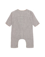 Caramel Squirrel Unisex Baby Cotton Romper in Blue Stripe | BIEN BIEN