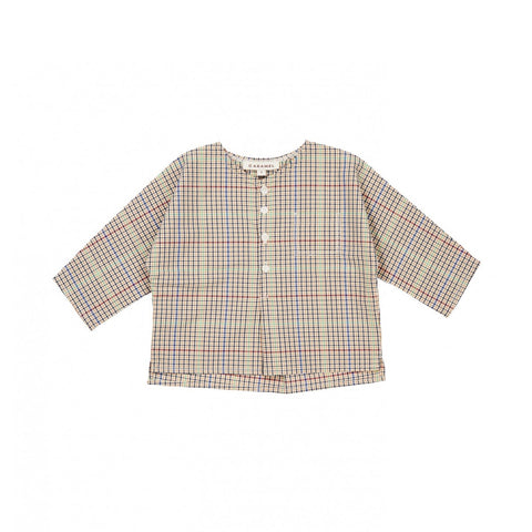 Caramel London Aloe Baby Long Sleeve Shirt Beige Check | BIEN BIEN www.bienbienshop.com
