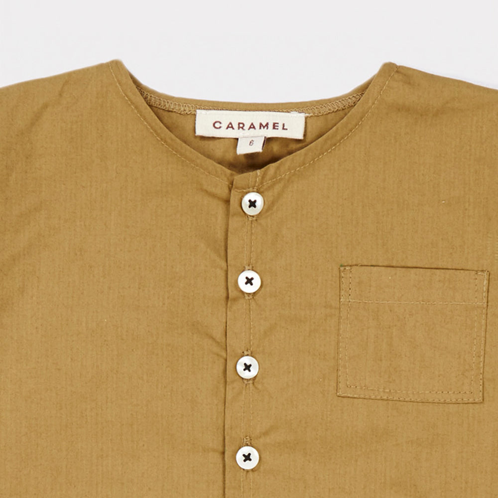Caramel London Aloe Baby Long Sleeve Shirt Olive Cotton | BIEN BIEN www.bienbienshop.com