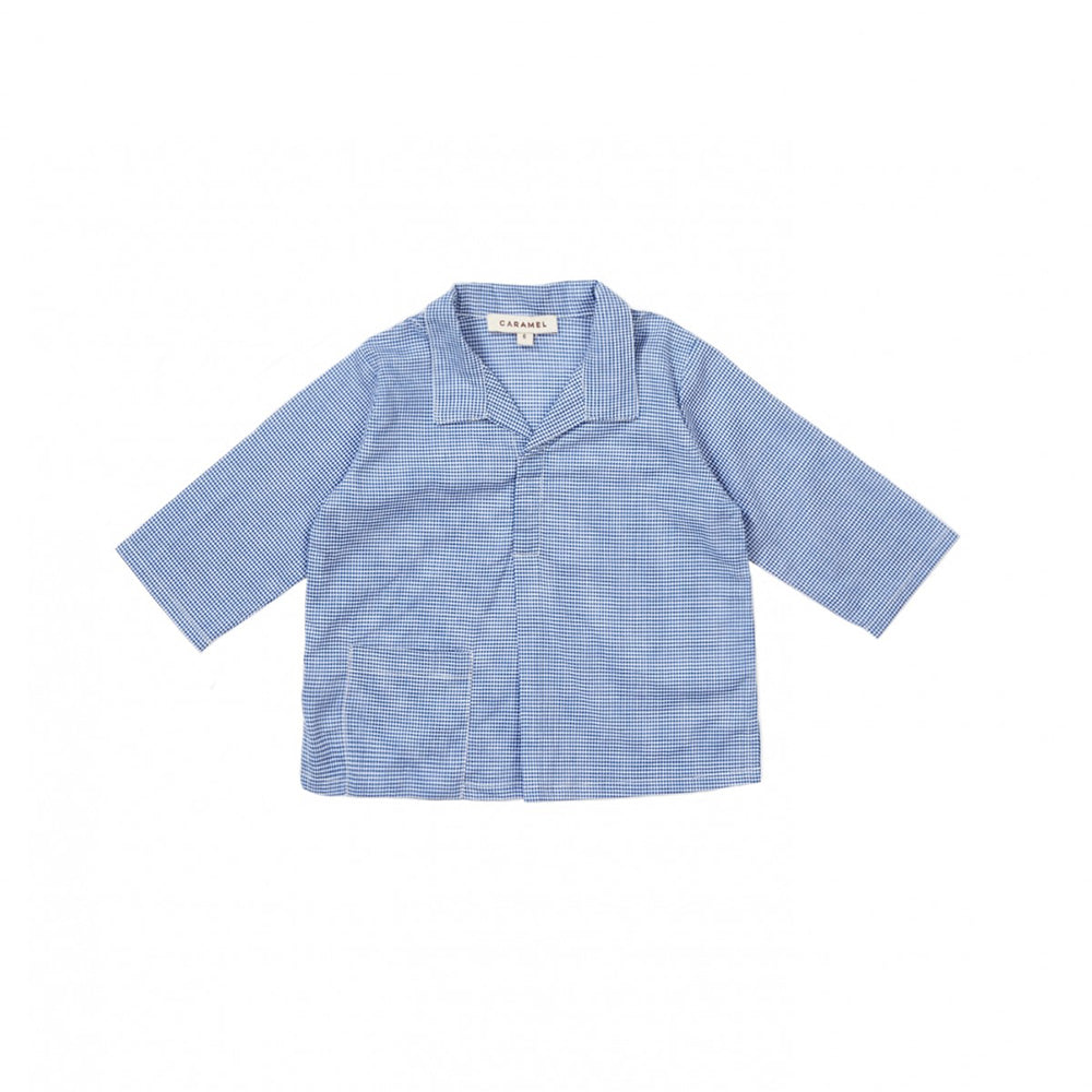 Caramel London Atlin Baby Shirt in Gingham Blue Microcheck | BIEN BIEN