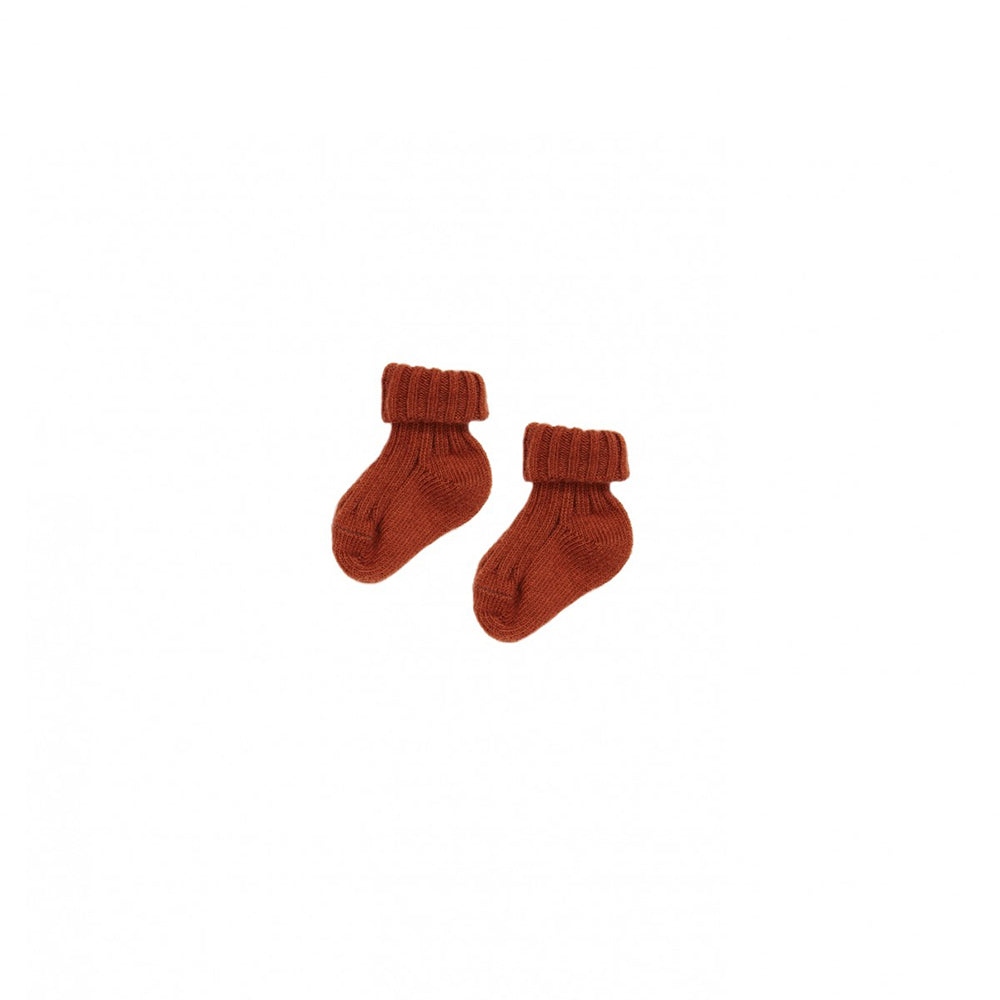 Caramel London Rib Baby Socks in Auburn | BIEN BIEN