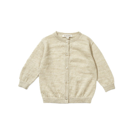 Caramel Cauliflower Baby Girl Cardigan in Custard Cream | BIEN BIEN