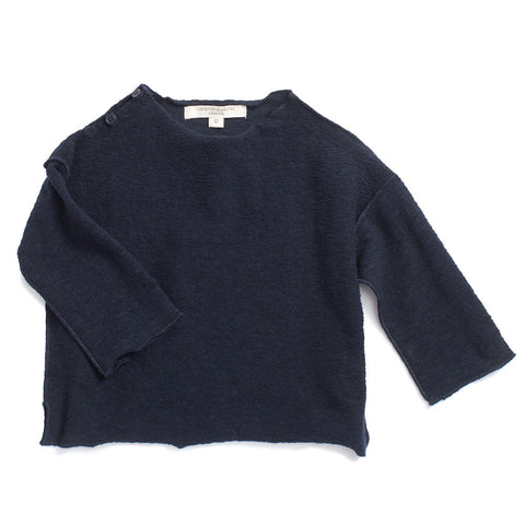 Caramel Baby & Child Cumin Baby Top Navy Textured Fleece