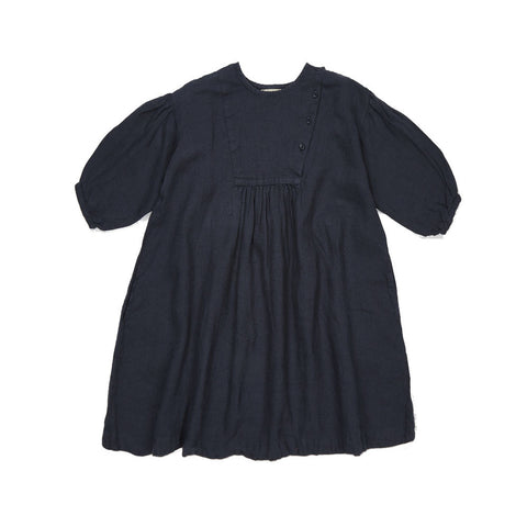 Caramel Lettuce Girl's Dress in Dark Navy | BIEN BIEN