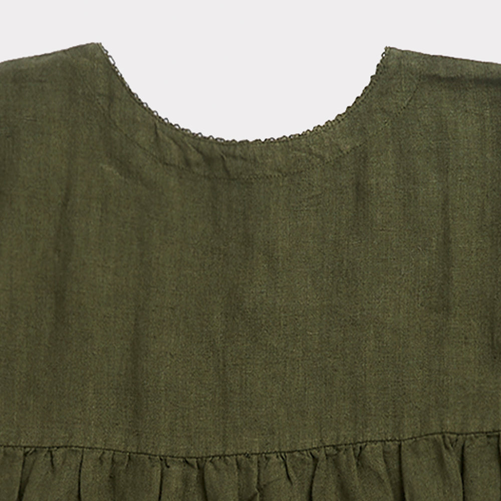 Caramel Wimbledon Kid's Dress Army Green Linen | BIEN BIEN www.bienbienshop.com
