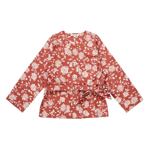 Caramel Kale Girl's Jacket in Brick Red Kimono | BIEN BIEN