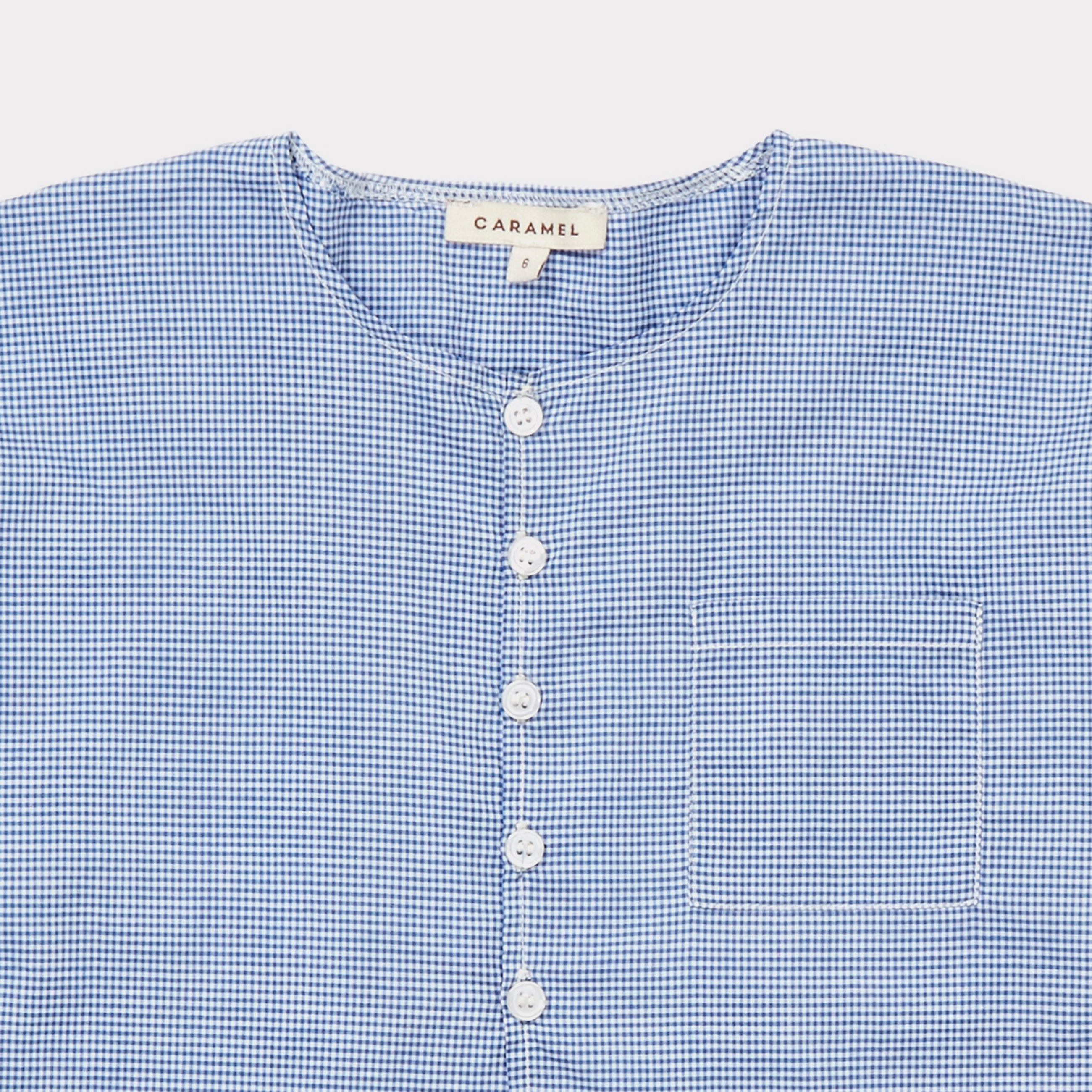 Caramel London Billy Kid Shirt in Gingham Blue Microcheck | BIEN BIEN