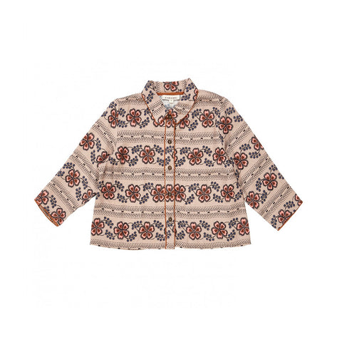 Caramel Phanes Kid's Collared Shirt Polka Flower Dove | BIEN BIEN www.bienbienshop.com