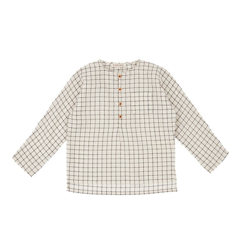 Caramel Pimlico Baby & Kid's Long Sleeve Shirt Black & White Grid | BIEN BIEN www.bienbienshop.com