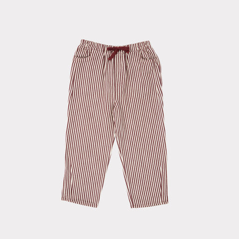 Caramel Squid Unisex Kid Trousers Brown Burgundy Stripe | BIEN BIEN