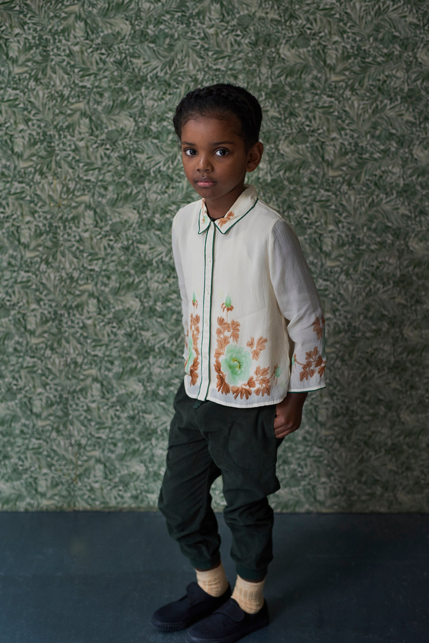 Caramel Duck Kid's Corduroy Trouser in Forest Green | BIEN BIEN