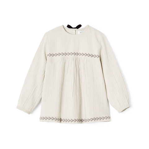 Polder Girl Cassis Top in Grey/White Stripe | BIEN BIEN