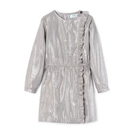 Polder Girl Celia Girl's Lurex Dress in Silver | BIEN BIEN