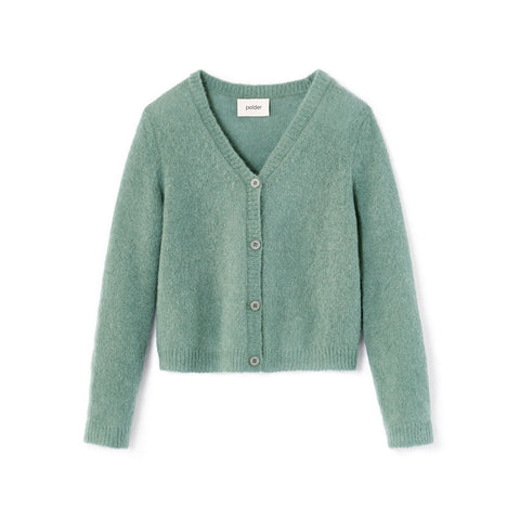 Polder Girl Cloé Kid's Alpaca Cardigan Sweater in Aqua | BIEN BIEN