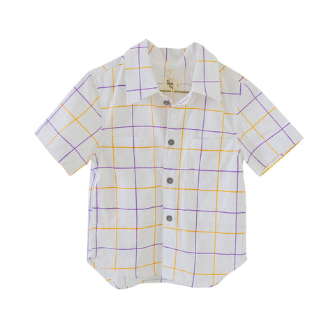 Nico Nico Doc Button Down Boy's Shirt in Lychee Check | BIEN BIEN
