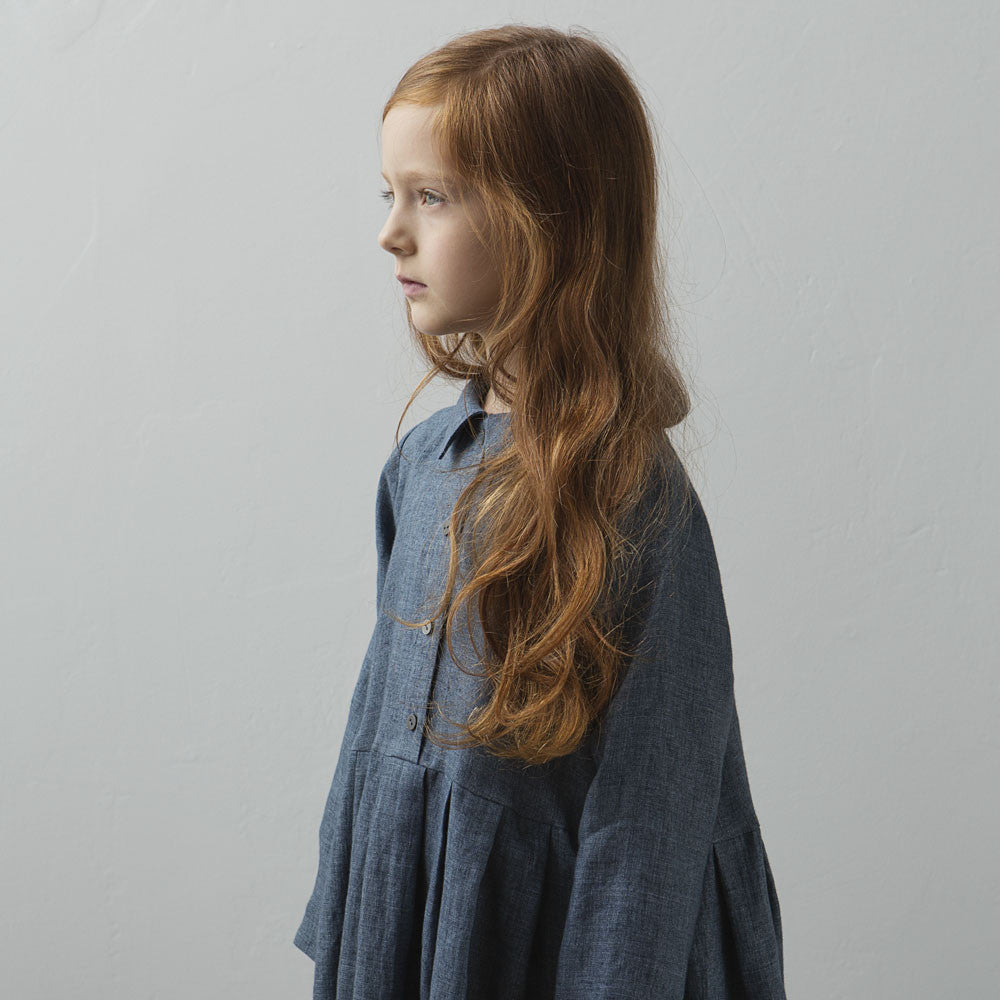 Muku Pleated Dress with Collar in Denim Blue | BIEN BIEN