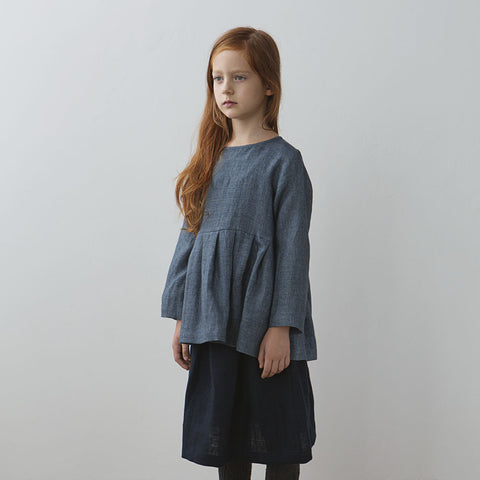 Muku Pleated Top in Denim Blue | BIEN BIEN