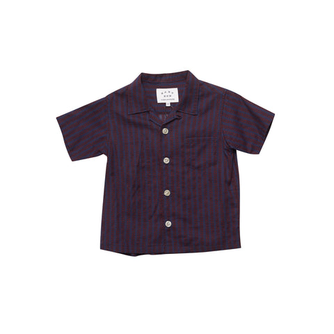 East End Highlanders Open Collar Kid's Buttondown Shirt Navy/Red Leaf | BIEN BIEN www.bienbienshop.com