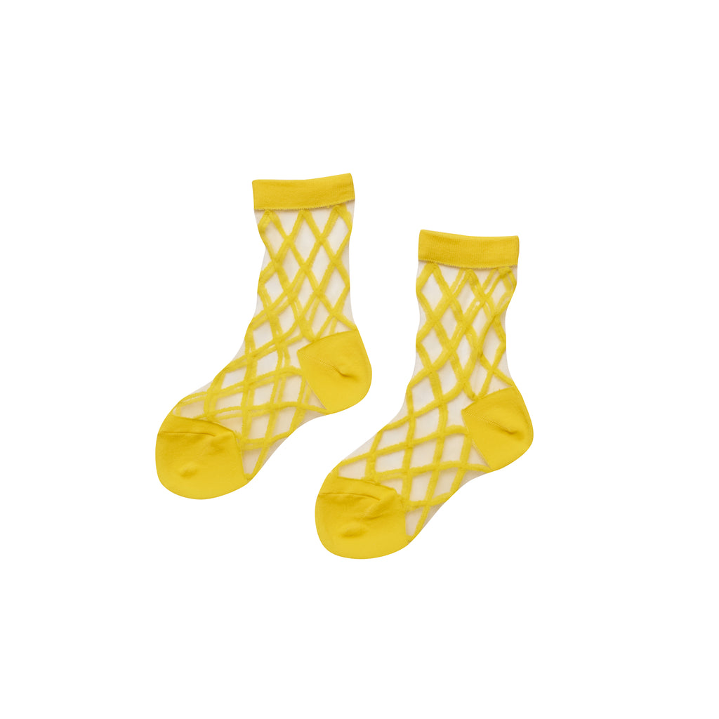 East End Highlanders Sheer Crew Socks in Yellow | BIEN BIEN