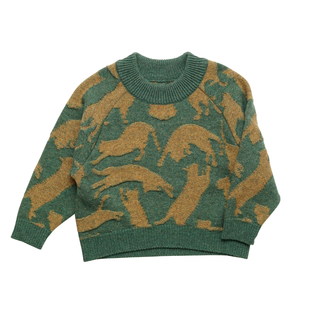 East End Highlanders Kid's Cat Knit Sweater Green/Mustard | BIEN BIEN www.bienbienshop.com