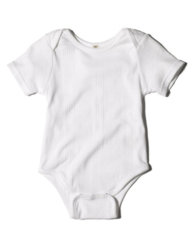 Goat-Milk Short Sleeve Ribbed Onesie White
