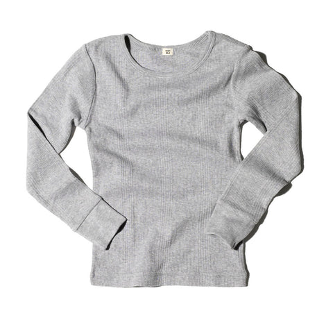 Goat-Milk Unisex Kid's Thermal Top Ribbed in Heather Grey | BIEN BIEN