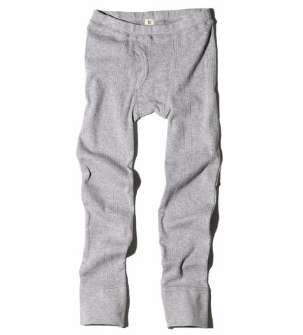 Goat-Milk Boy's Thermal Pant Ribbed in Heather Grey | BIEN BIEN