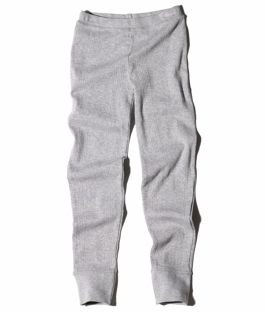 Goat-Milk Girl's Thermal Pant Ribbed in Heather Grey | BIEN BIEN