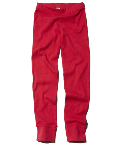 Goat-Milk Girl's Thermal Pant Ribbed in Crimson | BIEN BIEN