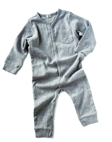 Goat-Milk Union Suit Ribbed in Heather Grey | BIEN BIEN