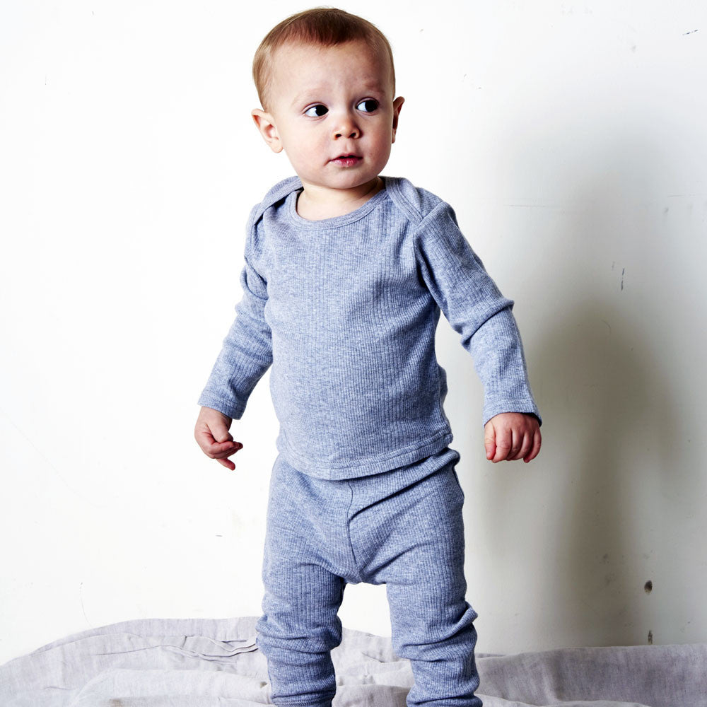 Goat-Milk Baby Thermal Pant Ribbed in Heather Grey | BIEN BIEN