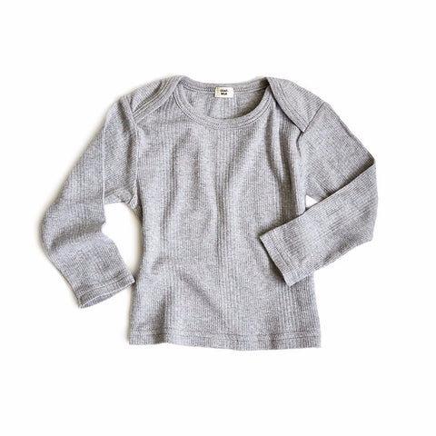 Goat-Milk Baby Thermal Top Ribbed in Heather Grey | BIEN BIEN