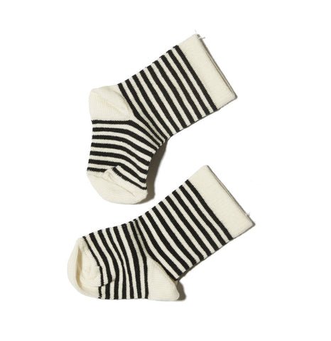 Goat-Milk Baby Socks in Striped White Toe | BIEN BIEN
