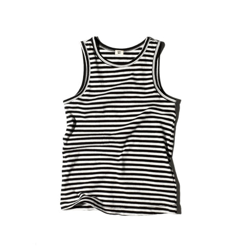 Goat-Milk Jersey Kid's Tank Top Black/White Striped | BIEN BIEN