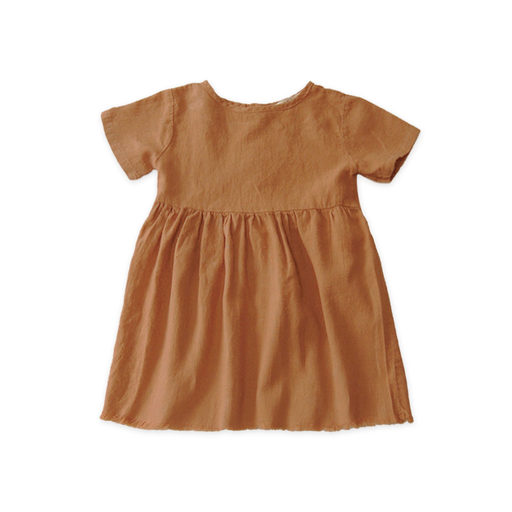 Go Gently Nation Short Sleeve Prairie Baby & Kid's Dress Adobe | Organic cotton and hemp | BIEN BIEN www.bienbienshop.com