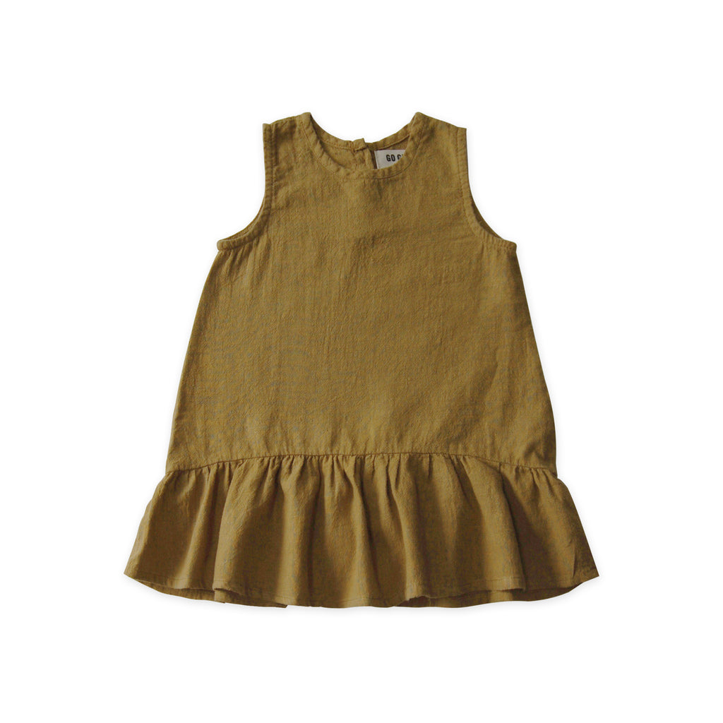 Go Gently Nation Sleeveless Ruffle Hem Dress Fennel | Baby & girl's organic cotton/hemp dress | BIEN BIEN www.bienbienshop.com