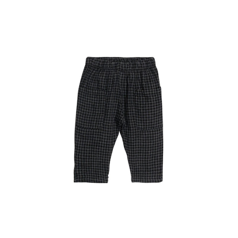Go Gently Nation Unisex Baby/Kid's Woven Pocket Pant Gray/Black Gingham | Organic Cotton | BIEN BIEN www.bienbienshop.com