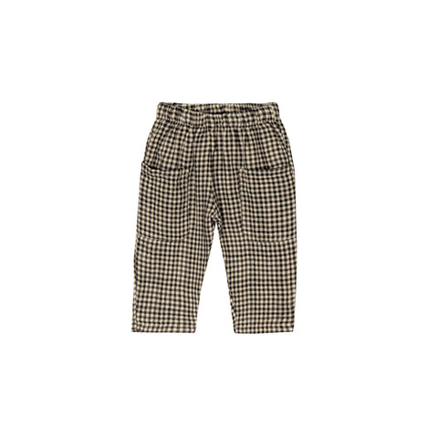 Go Gently Nation Unisex Baby/Kid's Woven Pocket Pant Tan/Black Gingham | Organic Cotton | BIEN BIEN www.bienbienshop.com