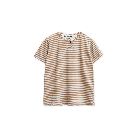 Go Gently Nation Baby & Kid's Henley T-Shirt Tan Stripe | Organic jersey | BIEN BIEN