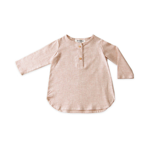 Go Gently Nation Baby & Kid's Placket Top Adobe Stripe | Organic Cotton/Hemp | BIEN BIEN www.bienbienshop.com