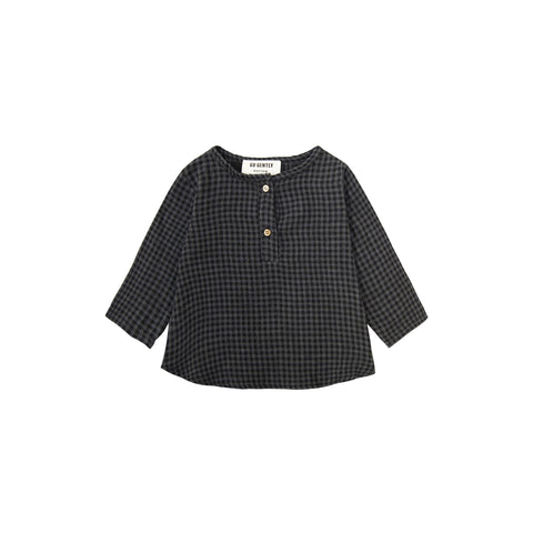 Go Gently Nation Unisex Baby/Kid's Long Sleeve Placket Top Gray/Black Gingham | BIEN BIEN www.bienbienshop.com