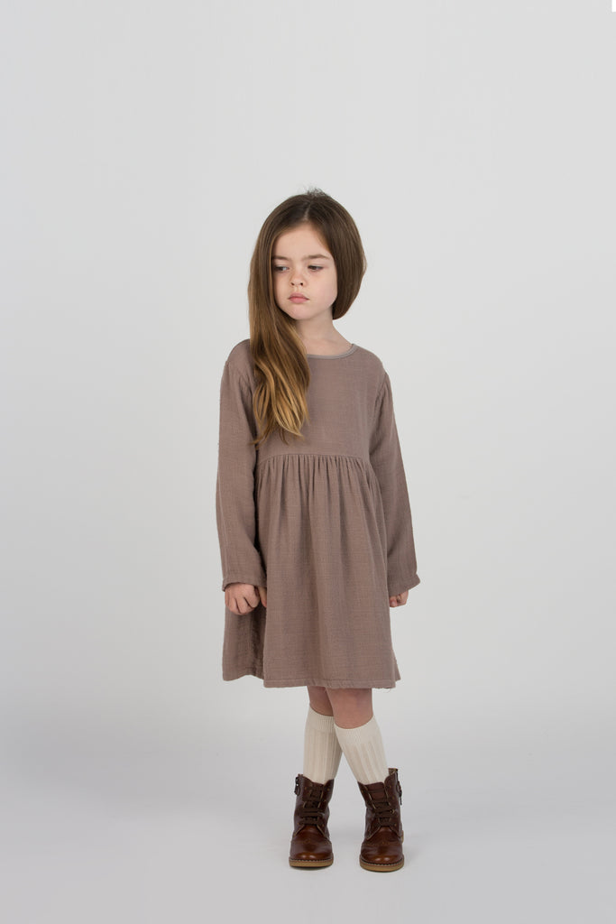 Go Gently Nation Kid's Gauze Prairie Dress Quilted Mud | BIEN BIEN www.bienbienshop.com
