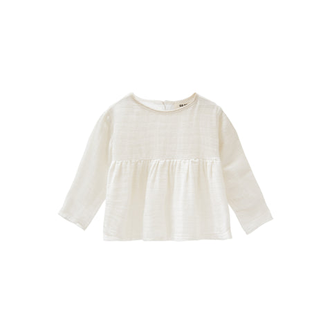 Go Gently Nation Kid's Prairie Long Sleeve Top Organic Cotton White | BIEN BIEN www.bienbienshop.com
