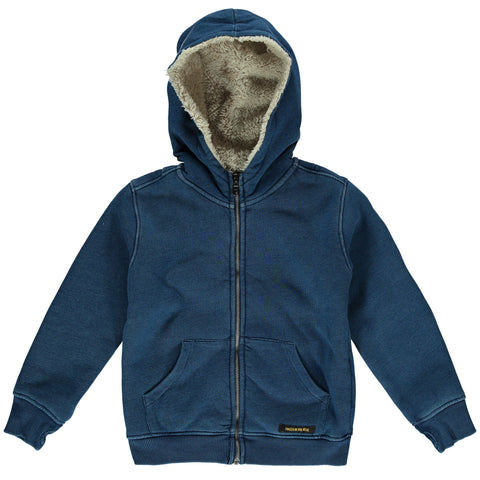 Finger in the Nose Hooper Zipped Hoodie in Indigo | BIEN BIEN