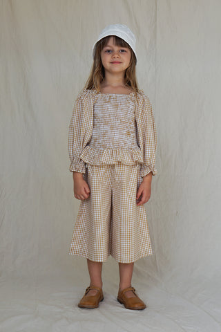House of Paloma Lois Kid's Long Sleeve Blouse Ginger Gingham Check