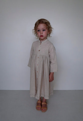 House of Paloma Gretta Kid's Dress in De La Flax Linen | BIEN BIEN www.bienbienshop.com